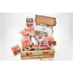 Wooden crate containing twelve sets of new scope rings with assorted fittment plus Wheeler Engineeri