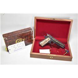 "Restricted handgun Colt model 1911 AB Jubilee, .45 ACP 7 shot semi automatic, w/ bbl length 127"" [Li"