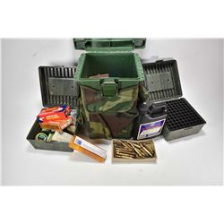 Wood Stream hunter seat 9080, a selection of plastic ammo cases, 50 rounds of 9mm Luger, 20 round of