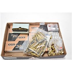 Selection of ammunition including six full 50 count boxes Blazer 9mm 115 grain, a unlabeled 50 count