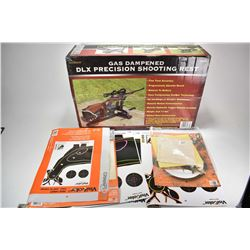 New in box Hyskor No.30088 gas dampened DLX Precision shooting rest, appears unopened plus some targ