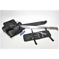 Six stainless and six black throwing knives in webbed wallet, camo. handled machete with scabbard an