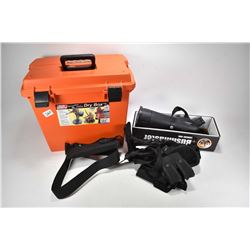 Orange MTM Case-gard utility dry box and contents including Bushmaster spotting scope, Black web hol