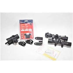Crossman laser sight, NCStar  1X40 red dot sight with quick release mount, two flashlight mounts, no