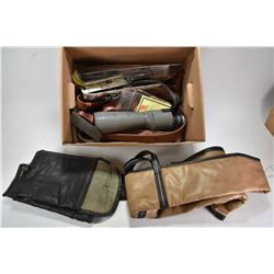Selection of firearms accessories including slings, Bushnell Spacemaster II spotting scope, two soft