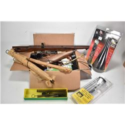 Assorted firearms related items including a moose call, blueing kit, cleaning suplies, scope covers,