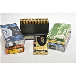 Six full 20 count boxes of assorted ammunition including Remington .458 Win Mag, Federal .303 Brit.,