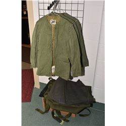 Selection of military surplus including coat liners, small sacs, equipment drop bag etc