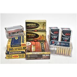 Selection of assorted ammunition including 100 rounds of .22LR, approximitaly 175 rounds of .22 Win