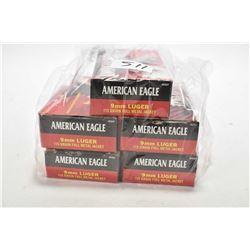 Five full 50 count boxes of american eagle 9mm 115Gr ammo