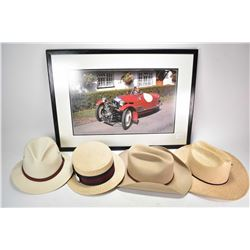Framed photo featuring a 1934 Morgan and four assorted hats.