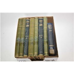Selection of antique hardcover books The Navy & Army Illustrated.