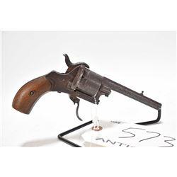 Antique handgun Unknown Belgian model DA pinfire revolver, 7mm? pinfire 6 double action revolver, [A