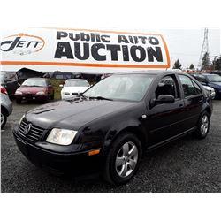 M1 --  2003 VW JETTA , Black , 186176  KM's