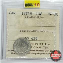 Canada Ten Cent 1874H (ICCS Cert VF-30)