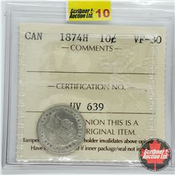 Canada Ten Cent 1874H (ICCS Cert VF-30)