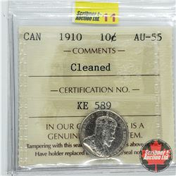 Canada Ten Cent 1910 (ICCS Cert AU-55) Cleaned
