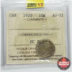 Canada Ten Cent 1920 (ICCS Cert AU-55)