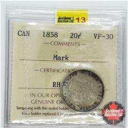 Canada Twenty Cent 1858 (ICCS Cert VF-30) Mark