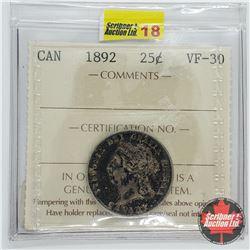 Canada Twenty Five Cent 1892 (ICCS Cert VF-30)