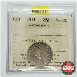 Canada Twenty Five Cent 1911 (ICCS Cert VF-20)