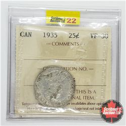 Canada Twenty Five Cent 1935 (ICCS Cert VF-30)