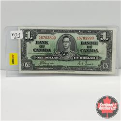 Canada $1 Bill 1937   Coyne/Towers : S/N#KN6703899