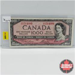 Canada $1000 Bill 1954  Lawson/Bouey :  S/N#AK1514099