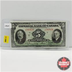 Imperial Bank of Canada $5 Bill 1934 Jaffray/Rolph : S/N#J297970