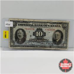 Imperial Bank of Canada $10 Bill 1934 Phipps/Rolph : S/N#F143779