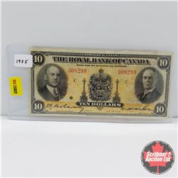 The Royal Bank of Canada $10 Bill 1935 (Large Signatures) S/N#308299