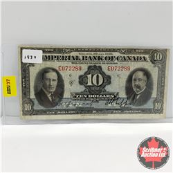Imperial Bank of Canada $10 Bill 1939 Jaffray/Phipps : S/N#E072289