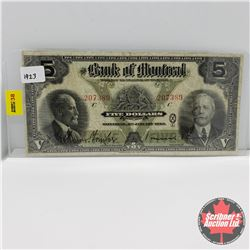 Bank of Montreal $5 Bill 1923 Sir F. Williams-Taylor/Vincent Meredith : S/N#207389