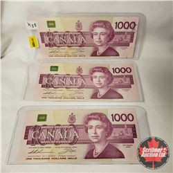 Canada $1000 Bills 1988 Thiessen/Crow (3 SEQUENTIAL) : S/N#'s: EKA0254887-88-89
