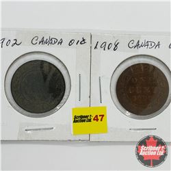 Canada Large Cent - Strip of 2: 1902; 1908