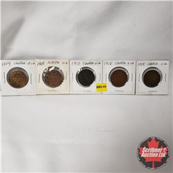 Canada Large Cent - Strip of 5: 1909; 1910; 1913; 1918; 1919