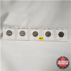 Canada Five Cent - Strip of 5: 1937; 1938; 1939; 1940; 1941