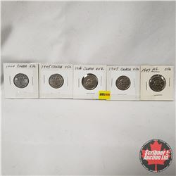 Canada Five Cent - Strip of 5: 1944; 1945; 1946; 1947; 1947ML