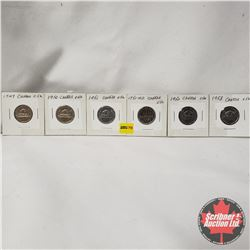 Canada Five Cent - Strip of 6: 1949; 1950; 1951; 1751-1951; 1952; 1953
