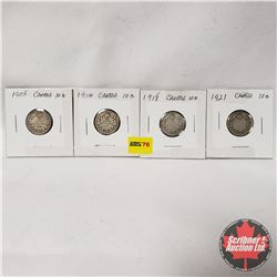 Canada Ten Cent - Strip of 4: 1905; 1914; 1918; 1921