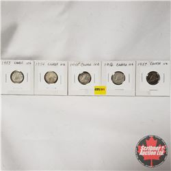 Canada Ten Cent - Strip of 5: 1953; 1954; 1955; 1956; 1957