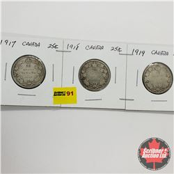 Canada Twenty Five Cent - Strip of 3: 1917; 1918; 1919