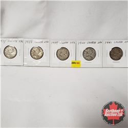 Canada Twenty Five Cent - Strip of 5: 1937; 1938; 1939; 1940; 1941
