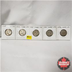 Canada Twenty Five Cent - Strip of 5: 1948; 1949; 1950; 1951; 1952