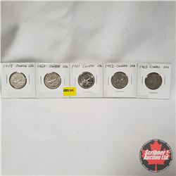 Canada Twenty Five Cent - Strip of 5: 1959; 1960; 1961; 1962; 1963