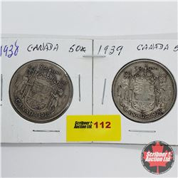 Canada Fifty Cent - Strip of 2: 1938; 1939