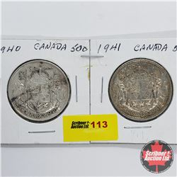Canada Fifty Cent - Strip of 2: 1940; 1941