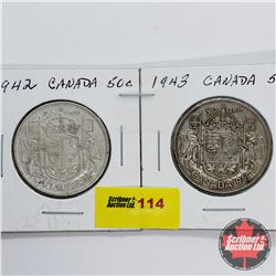 Canada Fifty Cent - Strip of 2: 1942; 1943