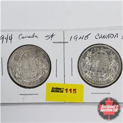 Canada Fifty Cent - Strip of 2: 1944; 1945
