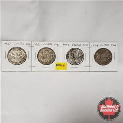 Canada Fifty Cent - Strip of 4: 1951; 1952; 1953; 1954